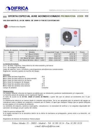 presupuesto para oferta aire acondicionado en madrid