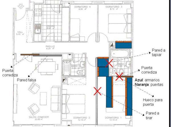 Reformar Baño En Vestidor:Presupuesto para tirar pared, reformar baño y hacer vestidor en